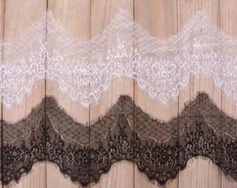 3 Yards  Graceful Eyelash Lace Fabric 7.87 Inches Wide Scalloped Lace Fabric  For Dress Veil Costume Supplies YL263