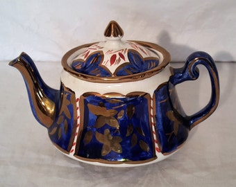 Price English Teapot with Gold Detail, Blue and Gold English Teapot, English collectable, Teapot british china, Vintage china, Blue Teapot