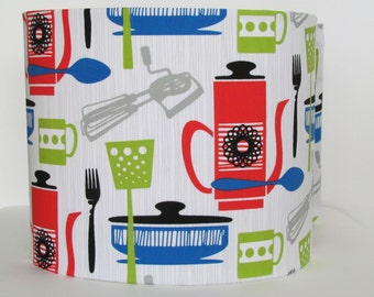 NEW Handmade Retro 50s Style Kitchen and Cooking Utensils  25cm 30cm Fabric Lightshade Lampshade