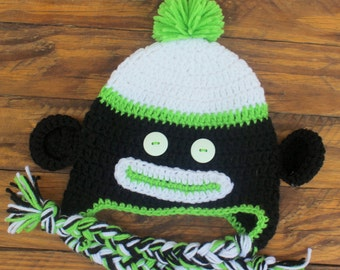 Crochet Black/Lime Green Sock Monkey Hat - Size 9-12 Months