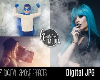 Digital Smoke Photoshop Overlays - Cigarette, Fire, Fog, Smoke Photo Effect, White Smoke on Black Background - JPG Download
