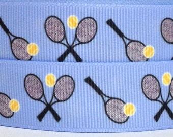 """Tennis Rackets 7/8"""" Grosgrain Ribbon - Tennis Racquets Grosgrain Ribbon - Tennis Rackets Ribbon - 7/8"""" Tennis Ribbon - Tennis Ribbon"""