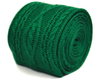 cable knitted green skinny knitted wool tie by Frederick Thomas FT2215