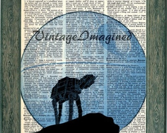 Star Wars Imperial Walker Death Star art print on 8x10 upcycled vintage dictionary page 8x10