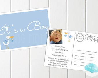 Personalised Birth Announcement Cards with Envelopes