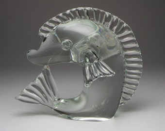 Vintage hand made glass fish paperweight.