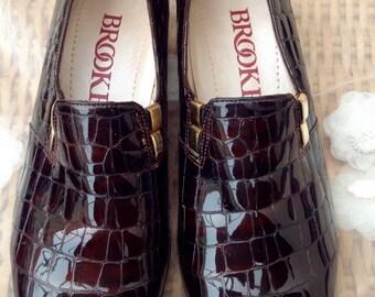 Original Vintage 1960's Mod Crocodile Design Loafers - Size 4.5