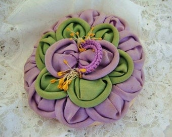 1920's Powder Puff,  Floral Ribbon Work Powder Puff - Patt