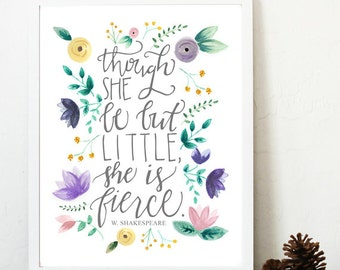 Though she be but little she is fierce print, fierce nursery print, shakespeare nursery art, purple yellow nursery art, shakespeare quote