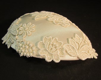 """Ivory embroidered embellished bridal Juliet cap, hat, 4.5""""x6"""",wedding accesories"""