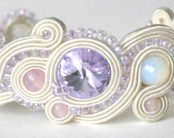 lila  ivory soutache bracelet