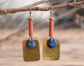 Ethnic Earrings - Textured Brass Earrings - Tribal Earrings - Hammered Brass Earrings - Boho Earrings - African Earrings - Statement Earring