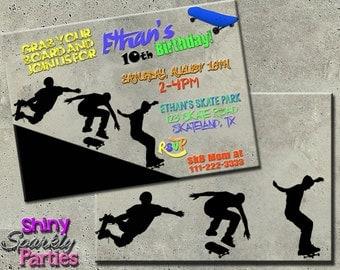 SKATEBOARDING BIRTHDAY INVITATION - skateboard invitations - Sk8ter Party Invitation - Skateboarding Invitation - skateboard birthday party