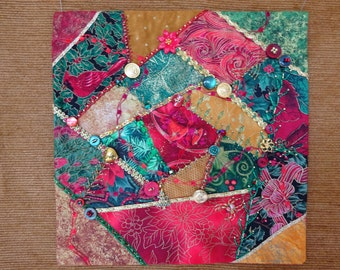 Christmas Crazy Quilt Wall Hanging, Christmas decoration, Christmas wall art, Christmas crazy quilt, Christmas art, Christmas wall hanging