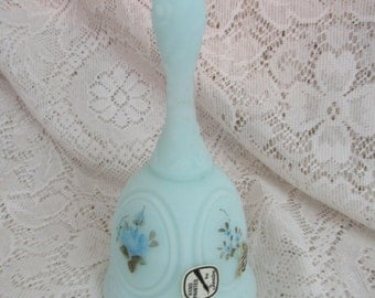 Fenton Glass Hand Painted Floral Satin Bell