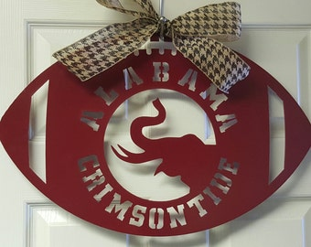 Alabama Crimson Tide Metal Door hanger or wreath, Roll tide, Bama, University of Alabama