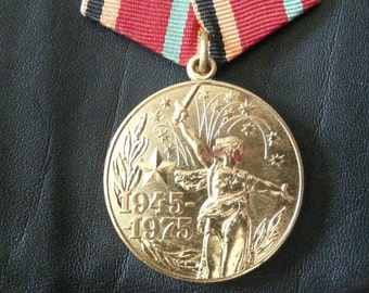 USSR medal devoted to  the thirtieth    anniversary of the Victory in WW2