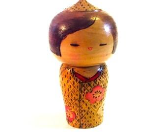 Vintage Kokeshi Doll, Kokeshi doll, Wooden Doll, Handmade Japanese Doll