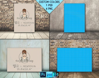 A2 42x60cm #F010 A1 A3 A4 Portrait Landscape Stretched Canvas on Wooden Floor, 4 Canvas Display Mockup,  PNG PSD PSE Custom colors 16.5x23.4