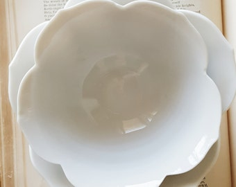 Vintage Porcelain Lotus Bowls Set of2 - Mid Century. Medium and Small Japanese Nesting Lotus Bowls.