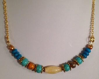 Turquiose and honey quartz necklace