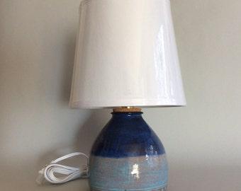 Earthenware Table Lamp in Double Blue