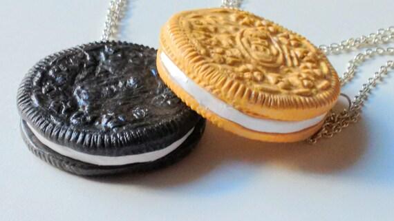 Oreo Cookie Necklace - Miniature Food Jewelry, Inedible Jewelry, Junk Food Jewelry - Statement Necklace, BFF Necklace - Kawaii Oreo Necklace