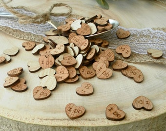 """100 Tiny """"I Do"""" Hearts 0.5"""" ~ Cute Little Wooden Hearts! Rustic Table Confetti ~ Summer Wedding"""