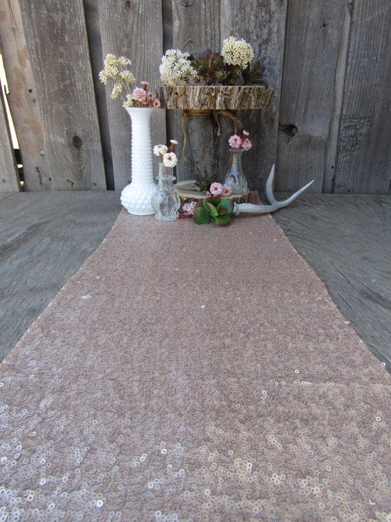 Champagne gold sequin table runner 12 x 108 inches wedding for 12 ft table runner