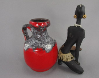 Vintage vase / jug / Jopeko / 020 16 / bright red / Fat Lava | West German Pottery | 70s