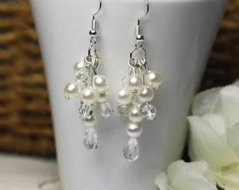 Bridal Pearl and crystal dangle earrings, bridal jewelry, wedding accessories, chandelier earrings, wedding accessories, pearl earrings