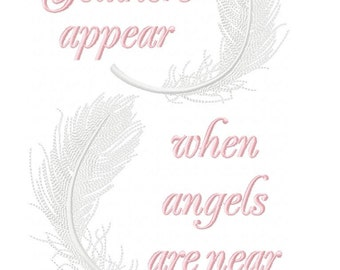 Angel Feathers Appear Machine Embroidery Design Pattern for 6x10 hoop by Titania Creations. Instant Download