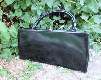 Vintage 50s/60s Theodor Purse or Handbag, Black Patent Leather Top Handle Handbag
