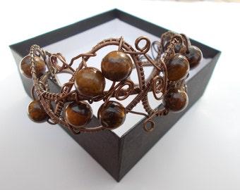 Tiger's eye wire wrapped cuff bracelet , Wire wrapped handmade jewellery , Gemstone jewellery , Gift for her , Tiger's eye jewellery