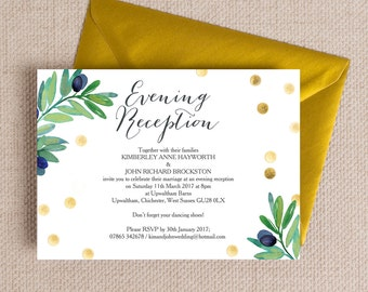 Personalised Green Olive and Gold Evening Wedding Reception Invitation with envelope