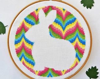Modern cross stitch pattern. Bargello design. Alice in Wonderland. White rabbit cross stitch. cross stitch rabbit. PDF instant download