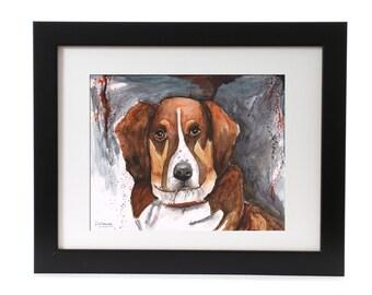 Dog Painting   Austrailian Shepard Painting   Dog Portrait   Aussie Art   Dog Portrait   8 X 10 Modern Dog Giclée   Australian Shepard Print