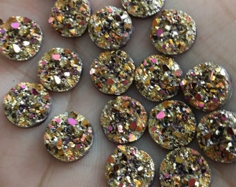 Metallic Gold/Magenta 10mm chunky faux druzy Cabochons 10pcs - C10:1