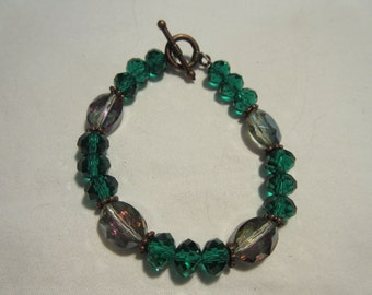 Emerald Green and A/B Pale Green Glass Beaded Bracelet