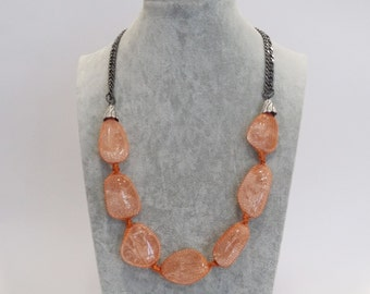 Necklace handmade with natural stones. Rock crystal
