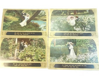 Antique song series postcard set of 4