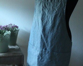 Apron,japanese style apron, Linen apron, softened linen,linen pinafore dress, square cross apron, no-ties apron,日本のエプロン