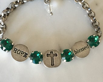 Blessed Bracelet with May Birthstone Emerald Crystals, in Antique Silver