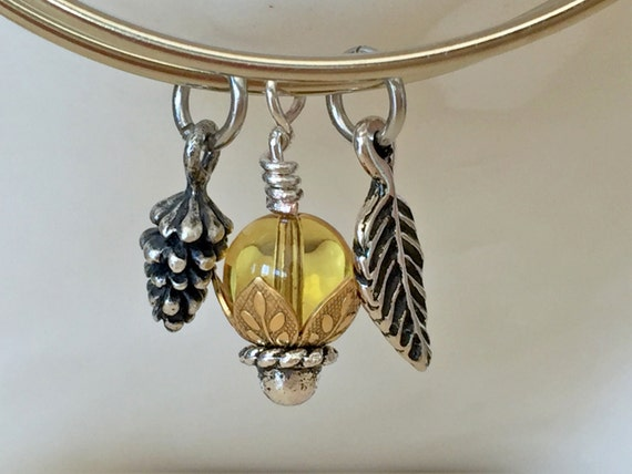 Fallin' for Fall Adjustable Bangle with Light Topaz Crystal, Leaf & Pinecone Charms