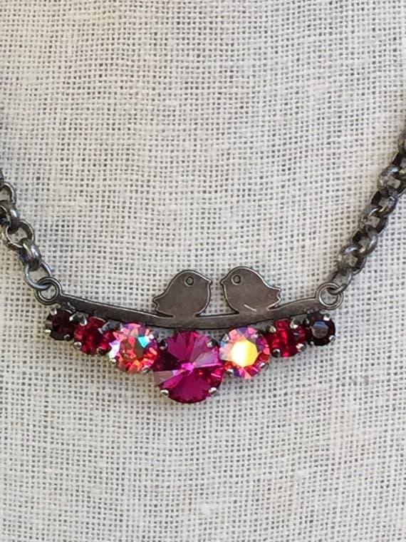 Chirp! Crystal Necklace,  Swarovski Fuchsia Necklace, Swarovski Pink Crystal Necklace, Bird Necklace, Bird Crystal Necklace