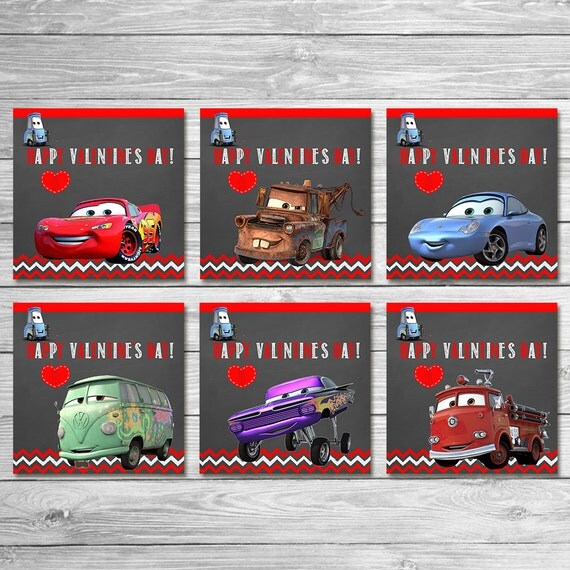 Cars Valentine's Day Cards Chalkboard / Cars Valentine's Day Party / Cars Valentines Favors / Cars Valentines Day School Valentines