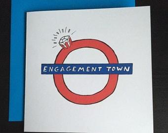 engagement card,  London tube, British, ring