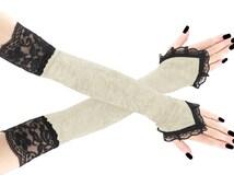 Long ivory black lace velvet fingerless gloves arm warmers gothic burlesque goth bridal elegant lolita glove, womens evening gloves 1020P