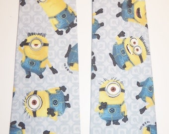 Minions Inspired Adult Necktie with Light Gray Patterned Background