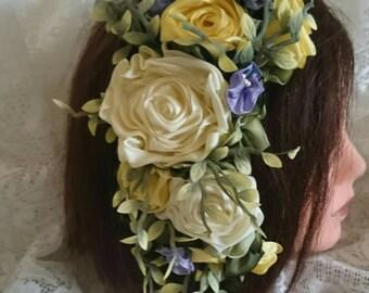 Wedding~flower girl sash~craft project~ribbon roses handmade, ombre ribbon,vintage, shabby chic